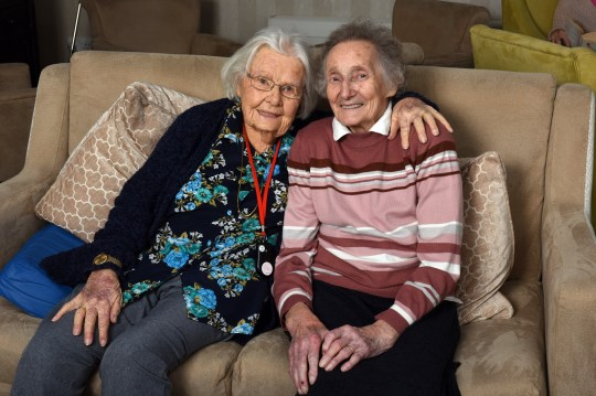 Pics by Caters News - (PICTURED: Childhood best friends Nora Boardman (left) and Eileen Gill (right) at the Crispin Court care home in Stafford where they have been reunited after 70 years apart.) Two elderly best friends who were separated for 70 YEARS have finally been reunited after moving to the same care home. Nora Boardman, 91, relocated to her new care home last August and her long lost pal, Eileen Gill, 89, arrived in January. The pair who were childhood best friends - recognised each other straight away despite being parted for seven decades. Nora, who lives in Crispin Court Care Home, Stafford, said: I never thought Id see Eileen again after we went our separate ways as children. - SEE CATERS COPY