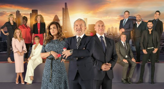 For use in UK, Ireland or Benelux countries only Undated BBC handout photo of (left to right) Baroness Brady, Lord Sugar and Claude Littner in front of the candidates (back row left to right) Rachel Johnson, Tamkeka Empson, Kelly Hoppen, Richard Arnold, Omid Djalili, Russell Kane, (front row left to right) Amanda Holden, Ayda Williams, Sam Allardyce and Rylan Clark-Neal , from Celebrity Apprentice for Comic Relief. PRESS ASSOCIATION Photo. Issue date: Tuesday February 26, 2019. See PA story SHOWBIZ Allardyce. Photo credit should read: BBC/Comic Relief/PA Wire NOTE TO EDITORS: Not for use more than 21 days after issue. You may use this picture without charge only for the purpose of publicising or reporting on current BBC programming, personnel or other BBC output or activity within 21 days of issue. Any use after that time MUST be cleared through BBC Picture Publicity. Please credit the image to the BBC and any named photographer or independent programme maker, as described in the caption.