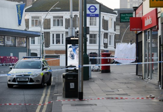 Image ??Licensed to i-Images Picture Agency. 27/02/2019. London, United Kingdom. Ilford stabbing. A police cordon can be seen around the crime scene. A man believed to have been in his 20s, was stabbed at Cranbrook Road, near Ilford Station on Tuesday night and died at the scene. There have now been 16 homicides in London so far this year, five of which happened in nine days. Picture by Gustavo Valiente / i-Images
