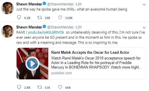 Rami Malek Oscars speech praised by Shawn Mendes | Metro News