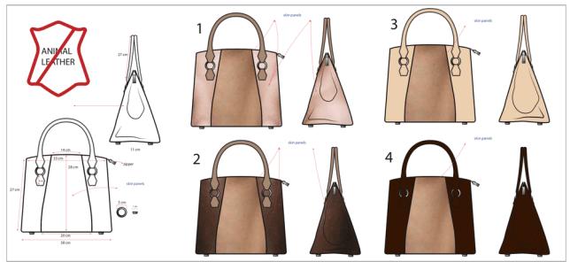 Mock up designs of Joan's ideal skin bag