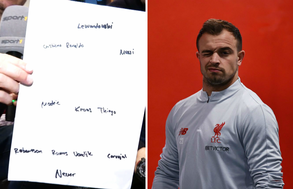 Xherdan Shaqiri names his dream team and more Bayern Munich players make it in than Liverpool players