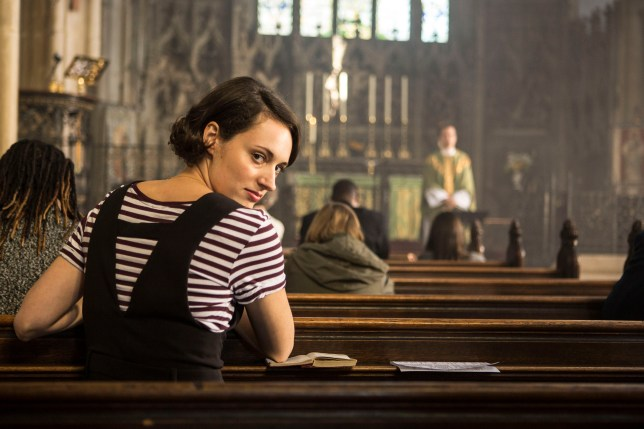 Phoebe Waller-Bridge as Fleabag sitting in a church in BBC drama