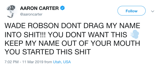 Aaron Carter is furious about the Leaving Neverland