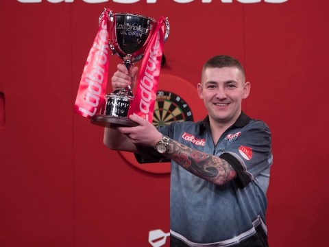 Watch Nathan Aspinall hit a stunning 170 checkout to win the UK Open title