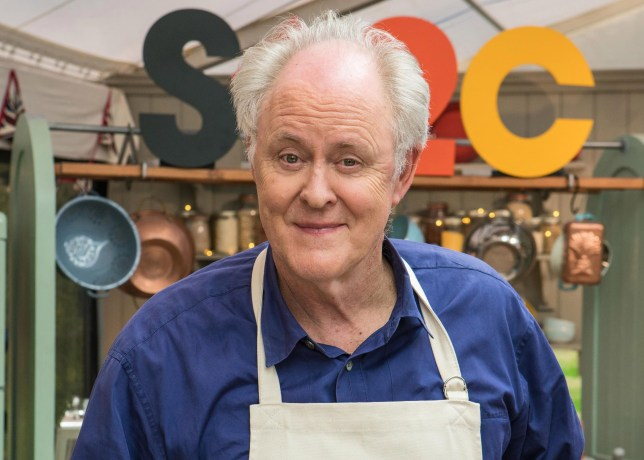 How old is John Lithgow and how is he best known as he appears in Celebrity Bake Off?