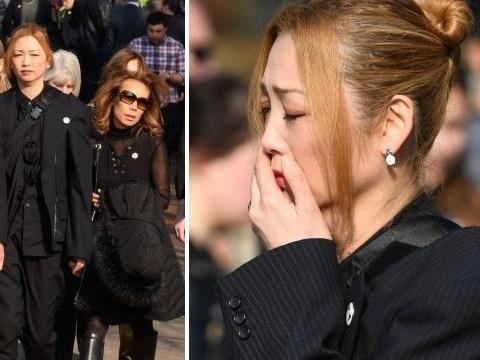 Keith Flint's wife Mayumi Kai looks emotional as she arrives at The Prodigy star's funeral