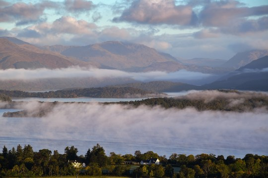 A view from Duncryne Hill of mist sitting over Loch Lomond