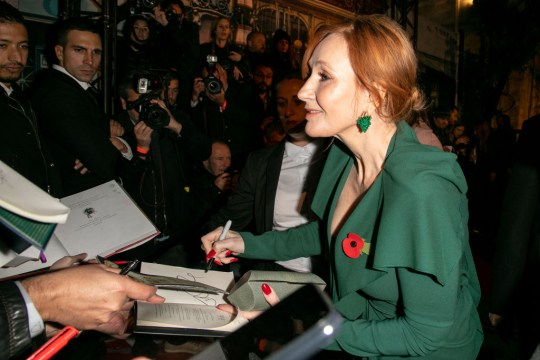 JK Rowling signs autographs