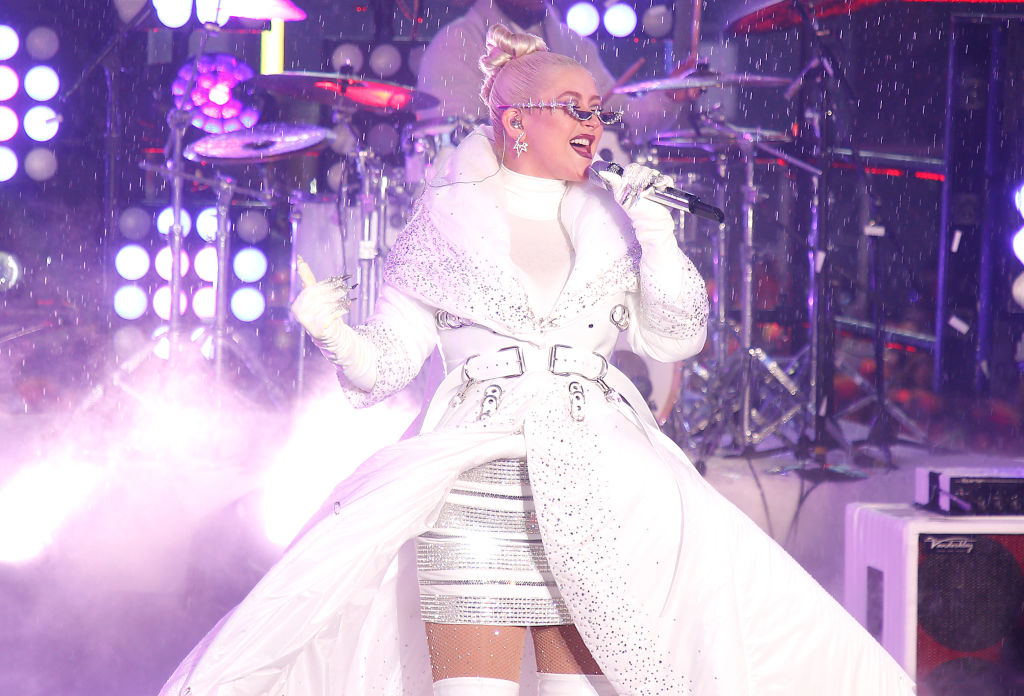 Christina Aguilera performs during the Times Square New Year's Eve celebration in New York City
