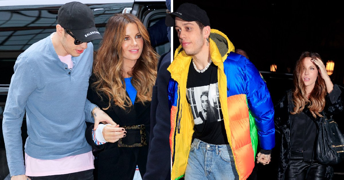 Kate Beckinsale beams as she holds onto Pete Davidson as they emerge following late night out