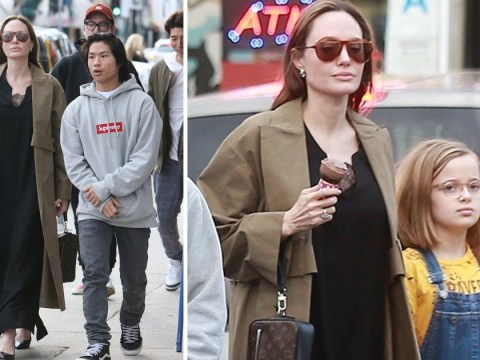 Angelina Jolie takes Pax and Vivienne for ice cream as trio enjoy day out in Los Angeles