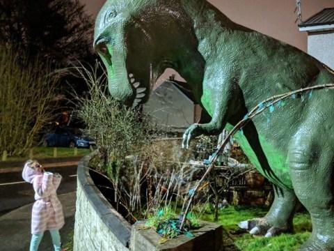 Hundreds flock to take selfies with giant dinosaur in grandad's garden