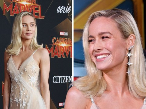 Brie Larson gives nod to Captain Marvel with silver star embroidered dress as she attends world premiere
