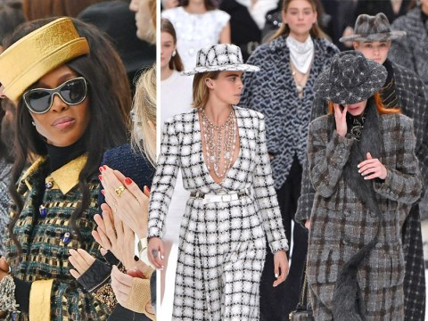 Naomi Campbell leads star-studded front row as models left in tears during Karl Lagerfeld's final Chanel show at PFW