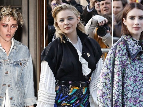 Kristen Stewart cuts an edgy look arriving at Louis Vuitton after-party with Chloe Grace Moretz and Emma Roberts