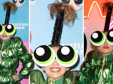 Model Megan Pormer should really rethink her Powerpuff Girls themed headwear