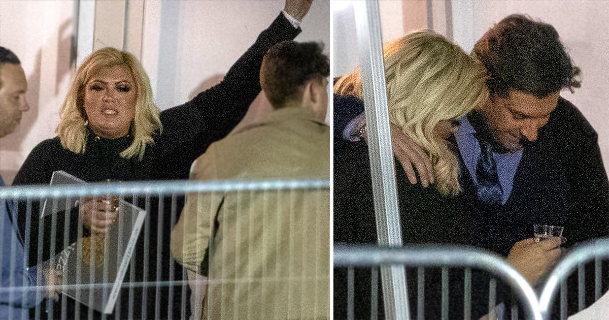Gemma Collins and James Argent dance with pizza box after he apologises for fat-shaming