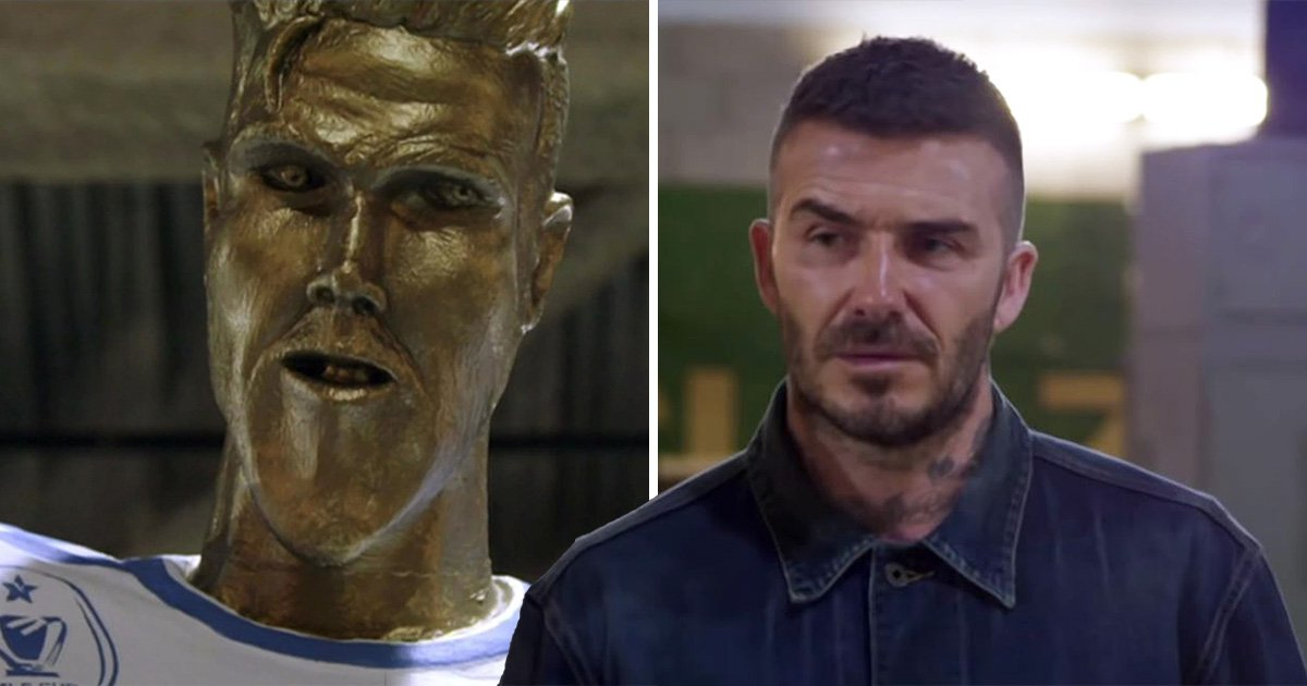 David Beckham is victim of epic prank by James Corden as he's honoured with embarrassing statue