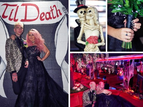 Newlyweds have rock 'n' roll ceremony with black wedding dress and skeleton cake