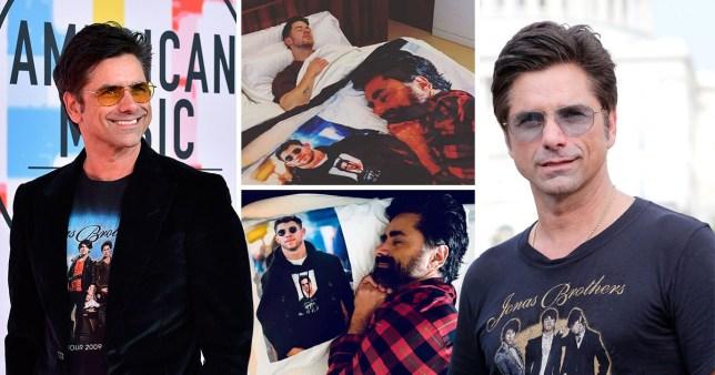 eea3fcf8 Nick Jonas sleeps with John Stamos blanket as adorable prank war continues