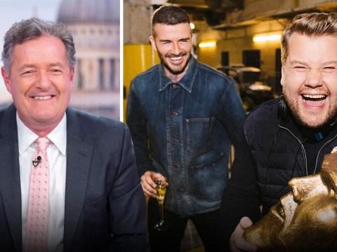 Piers Morgan praises James Corden for 'laying bare David Beckham's vanity' after epic prank