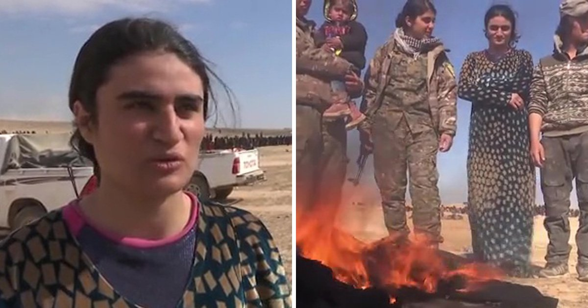 Yazidi sex slave burns burka as she's finally freed from clutches of Isis