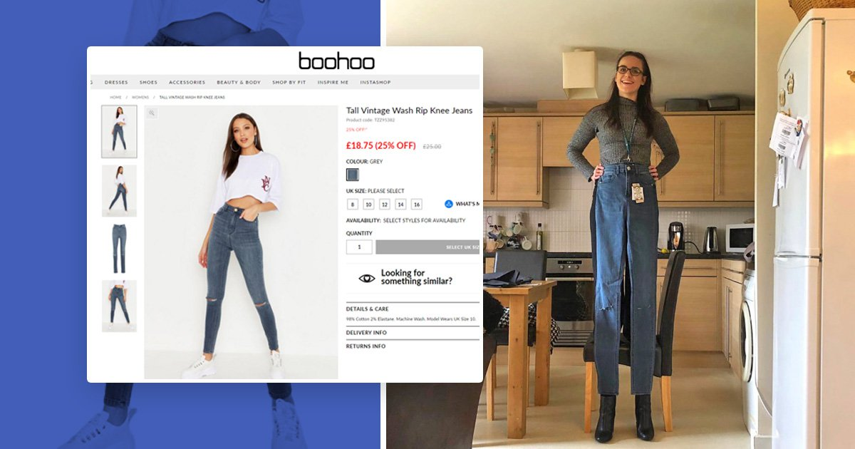 Woman orders Boohoo jeans, gets sent denim best suited for someone on stilts