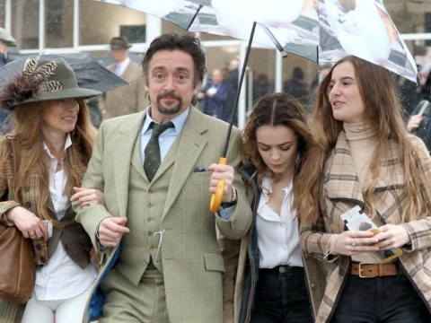 The Grand Tour's Richard Hammond braves the elements as he enjoys family day out at Cheltenham