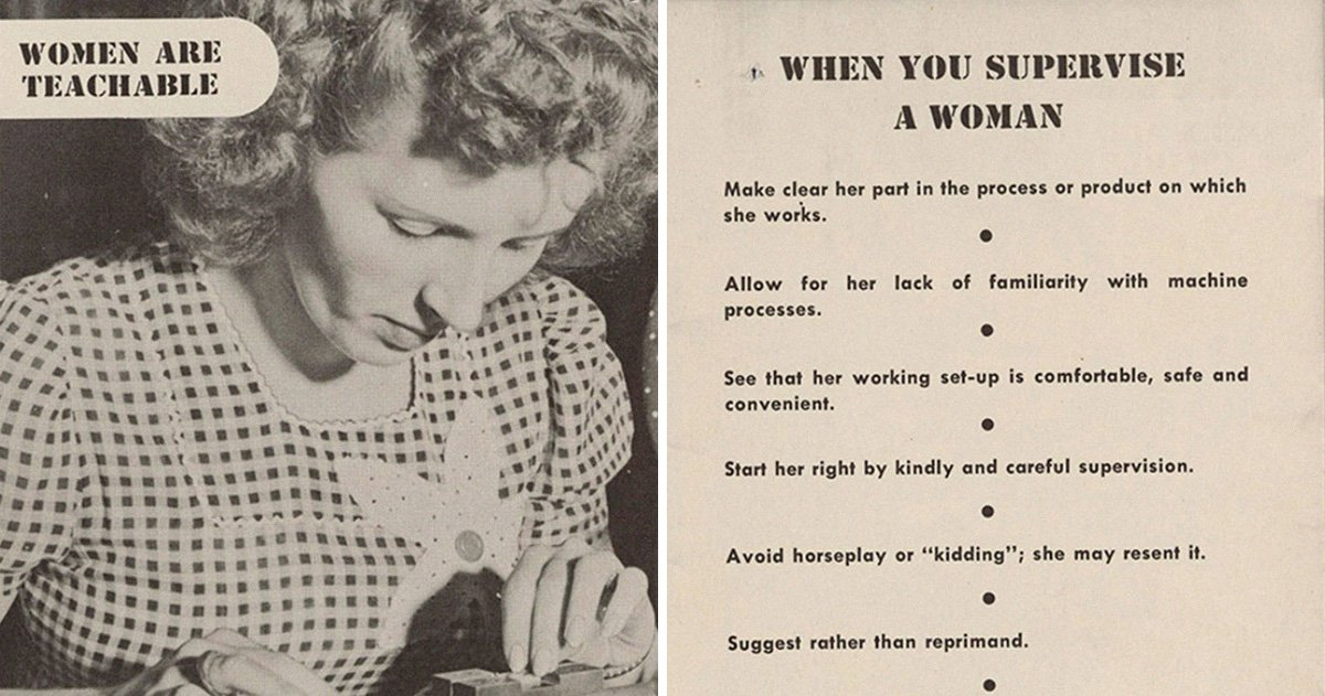 This guide from the 1940s explains how men should deal with female employees
