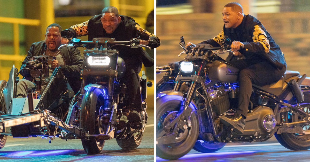 Will Smith and Martin Lawrence look terrified riding tandem on Bad Boys For Life set