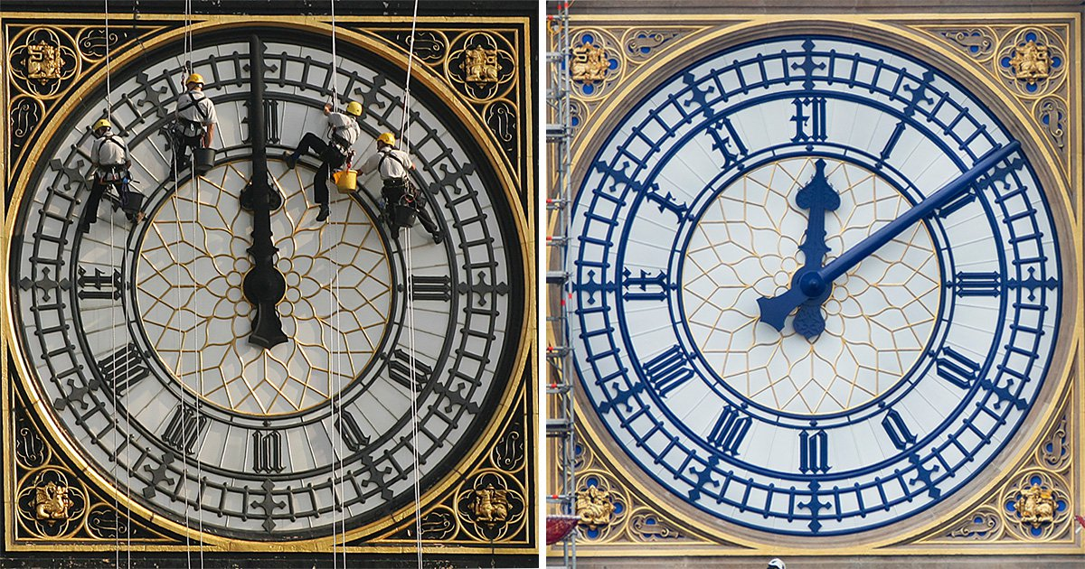 Big Ben restoration reveals clock face dials and numbers are blue not black