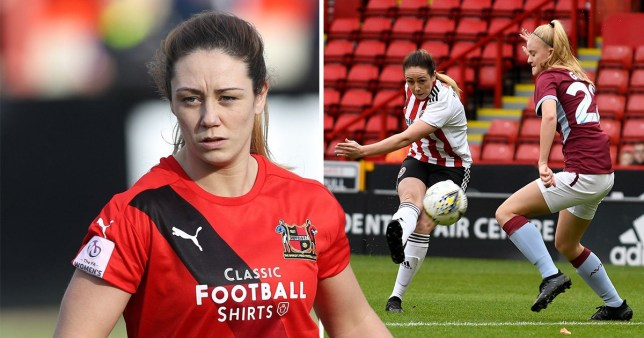 Sophie Jones wearing Sheffield United shirt and shooting in a match against Aston Villa