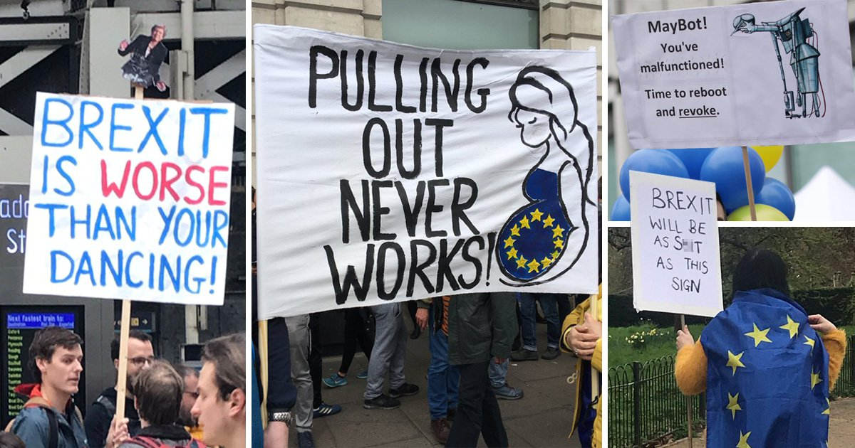 Brexit march protest signs: The best punny placards on display
