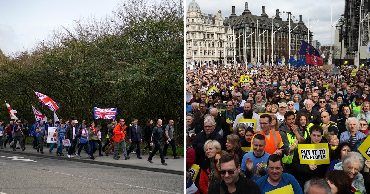 Nigel Farage's walk to Brexit vs People's Vote march