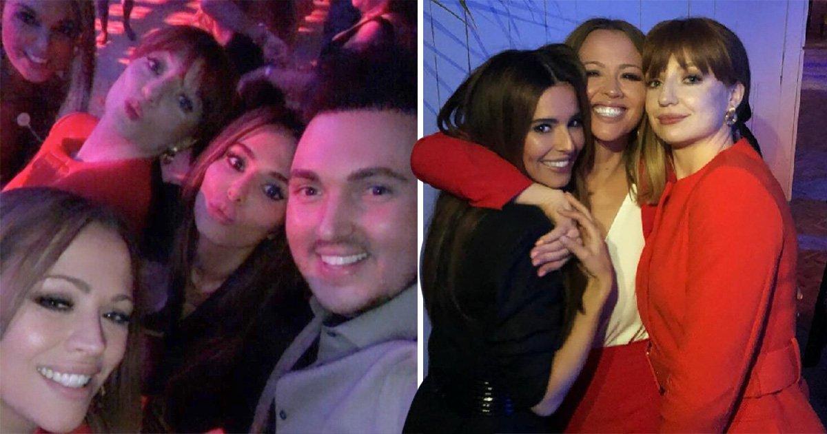 Cheryl beams as she reunites with Girls Aloud pals Kimberly Walsh and Nicola Roberts
