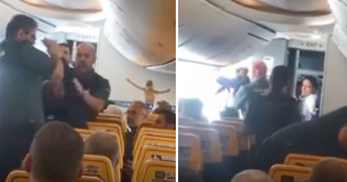 Passengers cheer as woman is dragged kicking and screaming from Ryanair flight