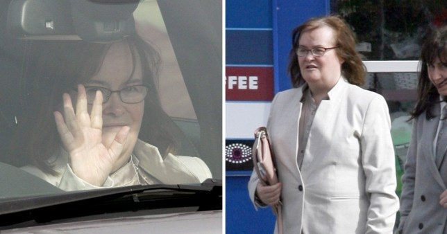 Susan Boyle does Tesco shopping in white power suit