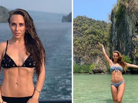 Chloe Green works some impressive abs as she continues to 'hide' engagement ring