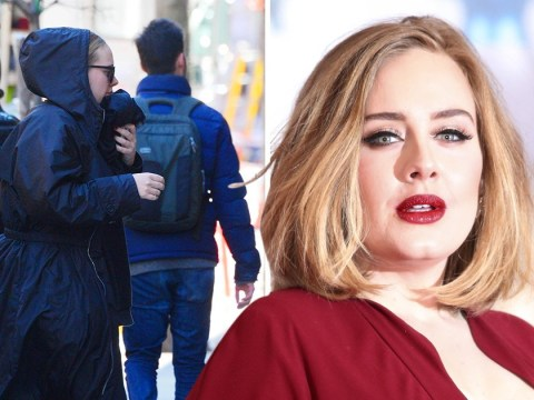 Adele tries to go incognito as she rushes into New York recording studio
