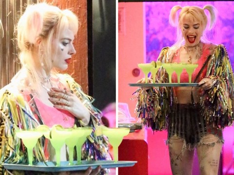 Margot Robbie brings Harley Quinn to the party as she serves up margaritas