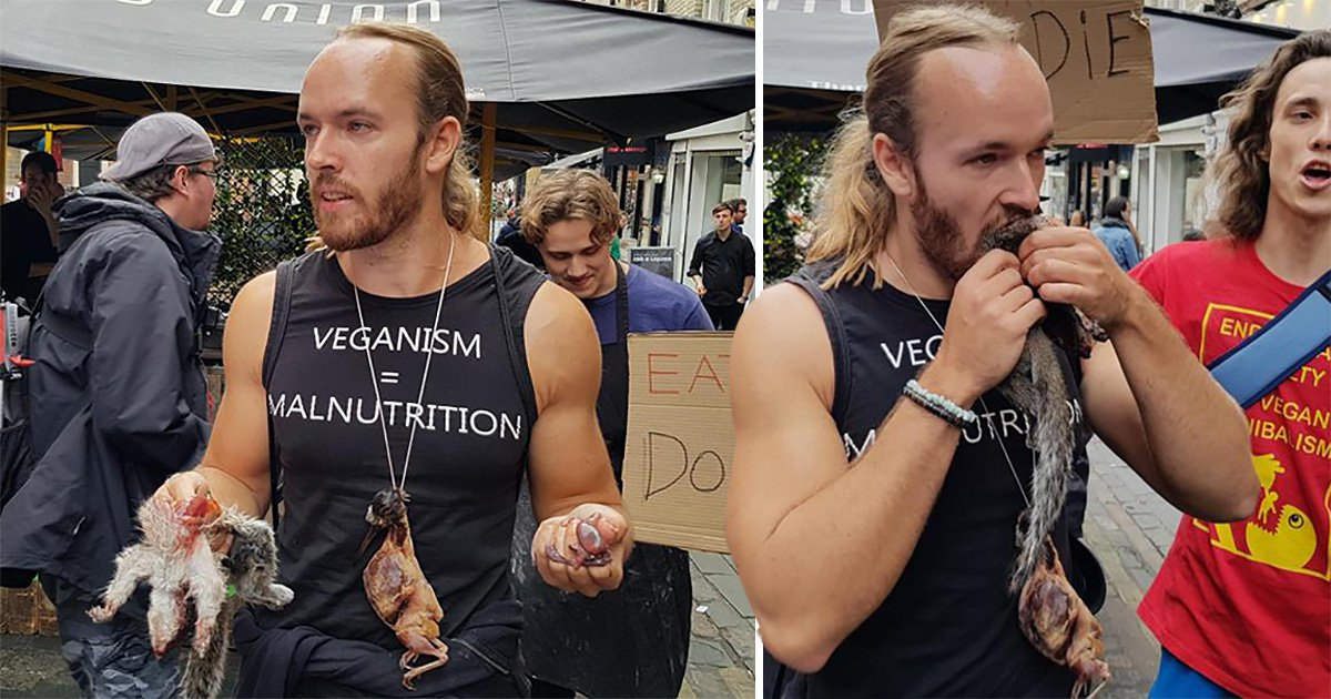 Man eats raw squirrel to taunt vegans but freaks out meat eaters instead