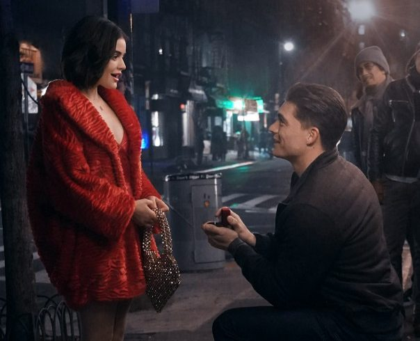 Riverdale spin-off Katy Keene sees Zane Holtz proposing to Lucy Hale in first on-set pictures
