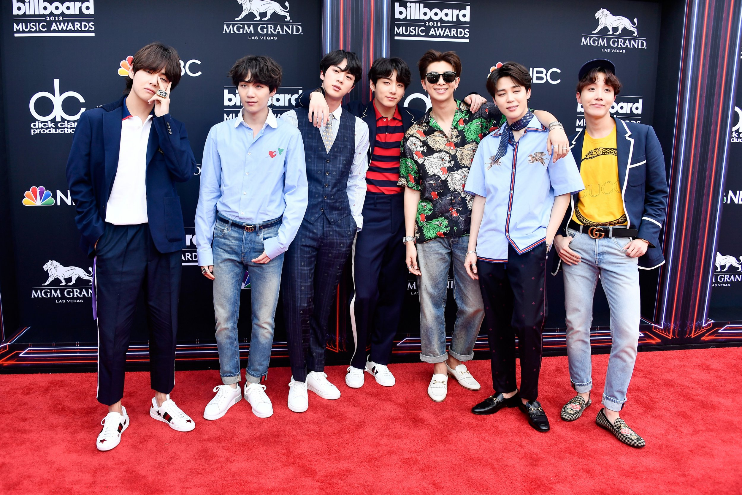 LAS VEGAS, NV - MAY 20: Musical group BTS attend the 2018 Billboard Music Awards at MGM Grand Garden Arena on May 20, 2018 in Las Vegas, Nevada. (Photo by Frazer Harrison/Getty Images)