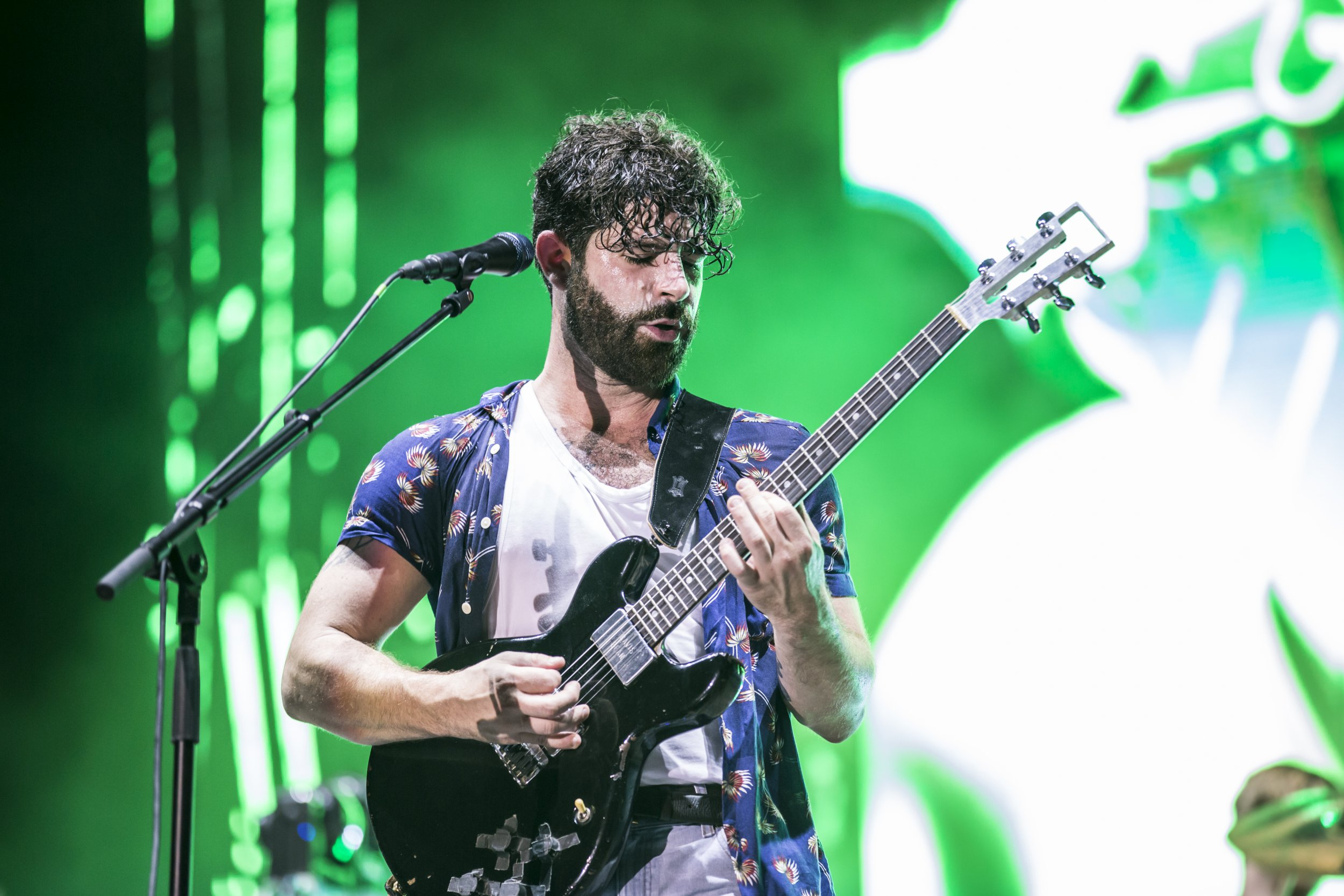 FOALS - BENICASSIM, SPAIN - JULY 14: Yannis Philippakis of Foals performs in concert during day 2 of Festival Internacional de Benicassim (FIB) on July 14, 2017 in Benicassim, Spain. (Photo by Xavi Torrent/WireImage)