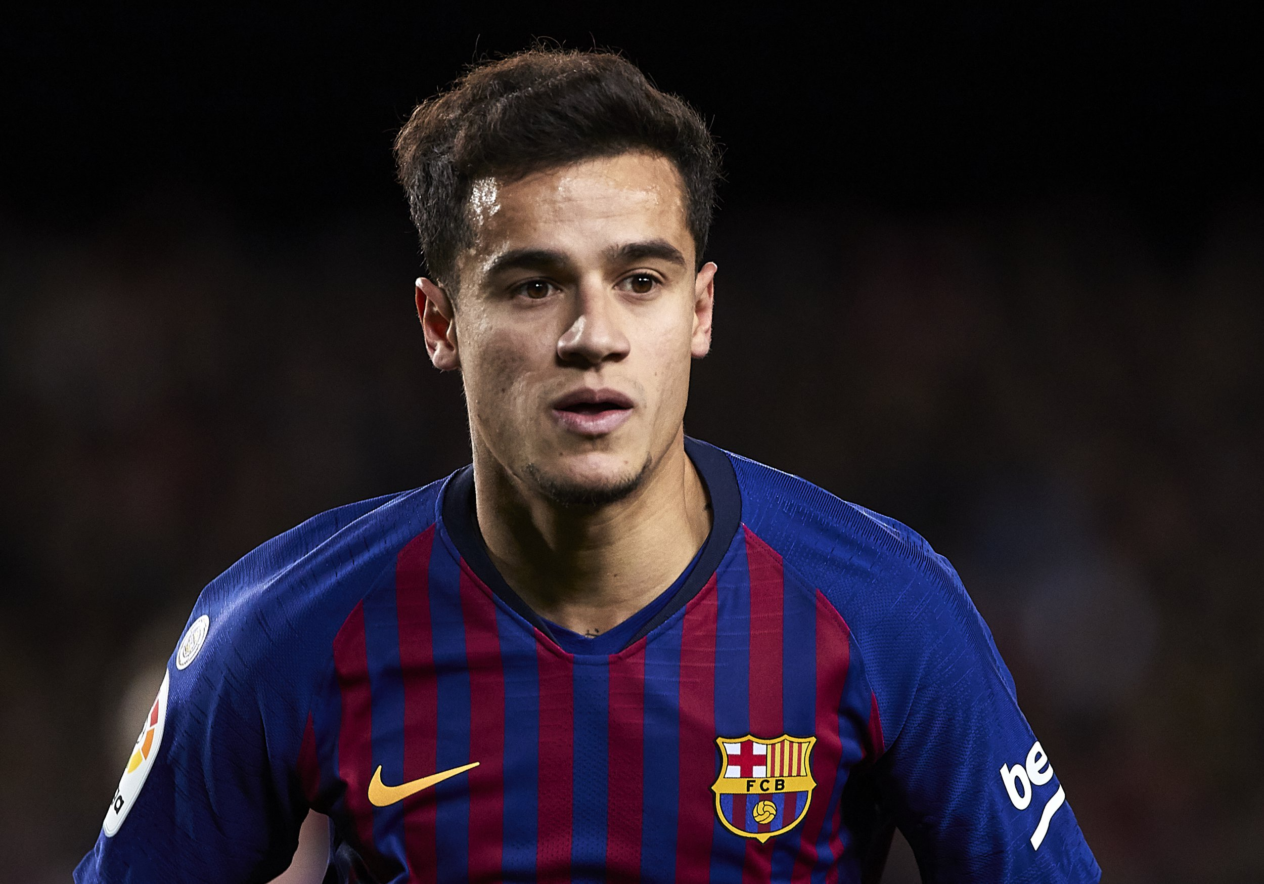 BARCELONA, SPAIN - FEBRUARY 02: Philippe Coutinho of FC Barcelona looks on during the La Liga match between FC Barcelona and Valencia CF at Camp Nou on February 02, 2019 in Barcelona, Spain. (Photo by Quality Sport Images/Getty Images)
