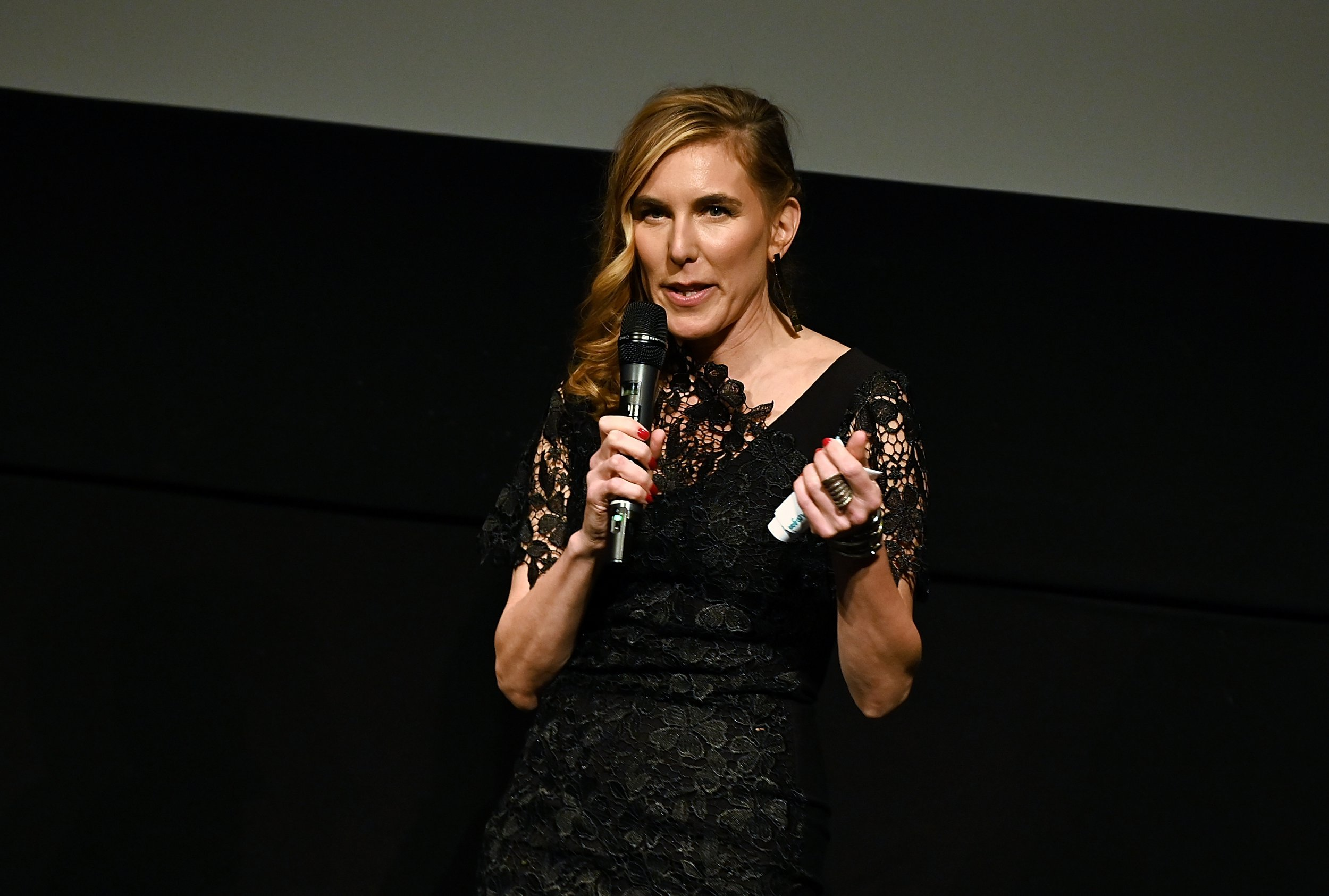 """NEW YORK, NY - FEBRUARY 26: Director/executive producer Amy Berg introduces NY premiere of HBO's """"The Case Against Adnan Syed"""" at PURE NON FICTION on February 26, 2019 in New York City. (Photo by Slaven Vlasic/Getty Images for HBO)"""