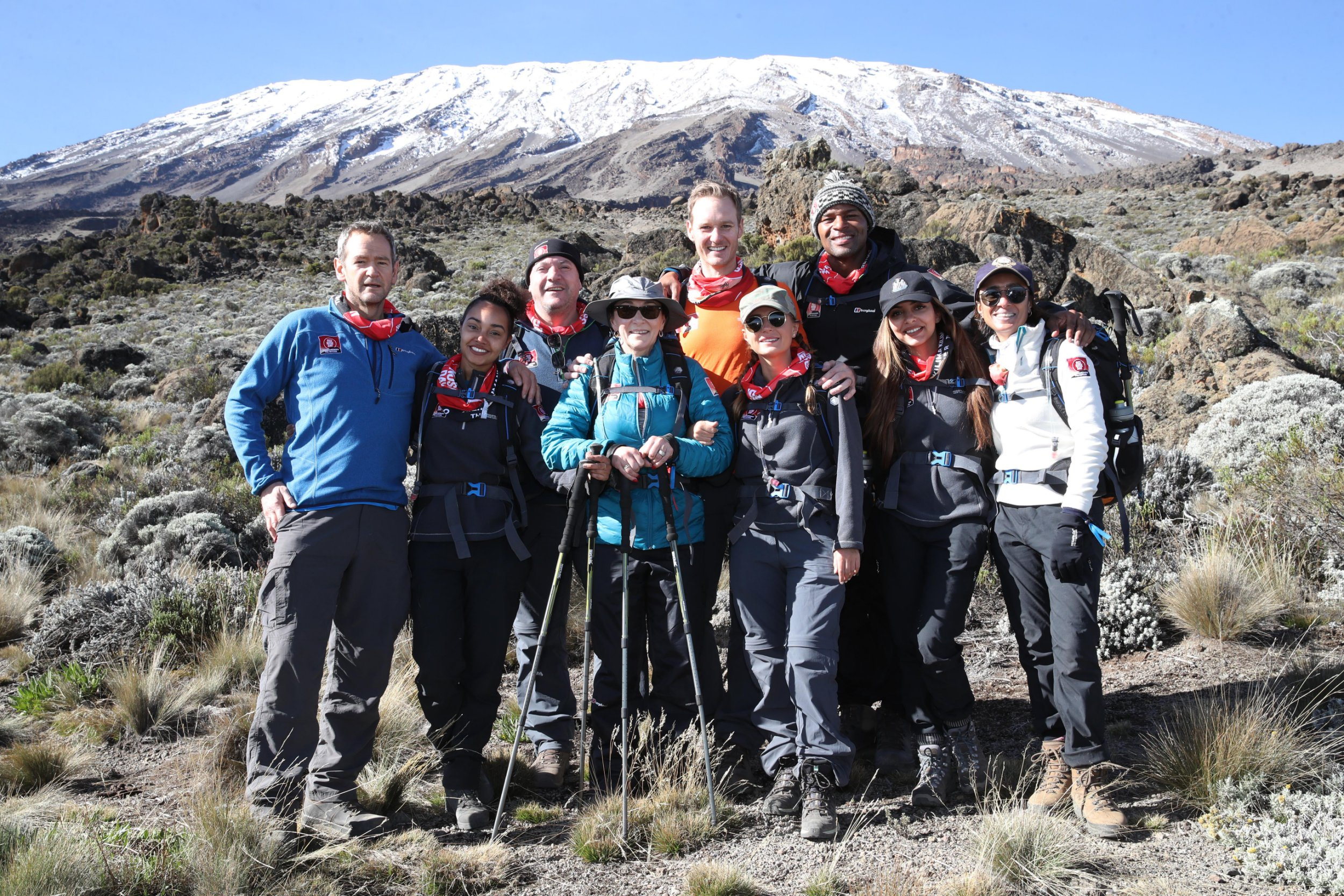 ***BESTPIX*** ARUSHA, TANZANIA - FEBRUARY 27: (STRICTLY EDITORIAL USE ONLY) Alexander Armstrong, Leigh-Anne Pinnock, Ed Balls, Shirley Ballas, Dan Walker, Dani Dyer, Osi Umenyiora, Jade Thirlwall and Anita Rani pose during day five of 'Kilimanjaro: The Return' for Red Nose Day on February 27, 2019 in Arusha, Tanzania, all to raise funds for Comic Relief supported projects in the UK and around the world. (Photo by Chris Jackson/Getty Images for Comic Relief)