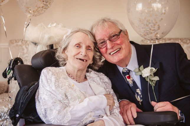 PIC FROM Caters News - (Pictured: Images from Colin Joness and Pauline Youngs wedding day) - A couple who lived and worked side-by-side for 43 years have finally tied the knot after the bride turned down the grooms proposals every year.Colin Jones asked Pauline Young to marry him every year since they first met 43 years ago, and after the latest no had resigned himself to never being able to put a ring on her finger.SEE CATERS COPY