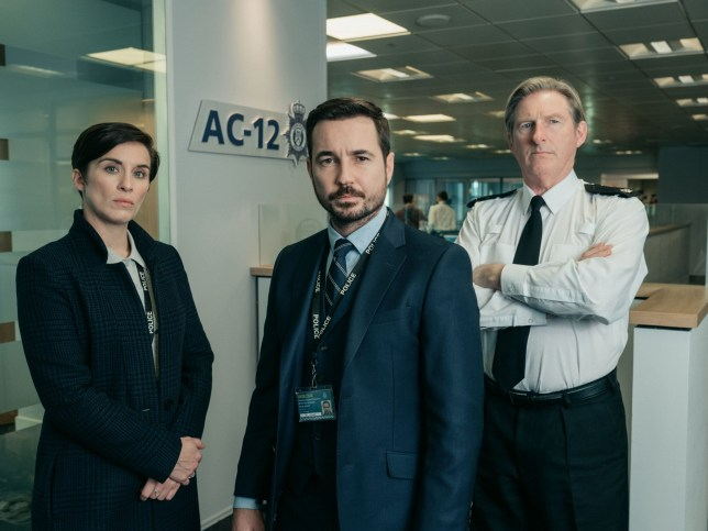 Undated BBC handout photo of Vicky McClure as DS Kate Fleming, Martin Compston as DS Steve Arnott and Adrian Dunbar as Ted Hastings, who are returning in the new series of Line Of Duty coming soon to BBC One. PRESS ASSOCIATION Photo. Issue date: Sunday March 3, 2019. See PA story SHOWBIZ Duty. Photo credit should read: Aiden Monaghan/World Productions/BBC/PA Wire For use in UK, Ireland or Benelux countries only NOTE TO EDITORS: Not for use more than 21 days after issue. You may use this picture without charge only for the purpose of publicising or reporting on current BBC programming, personnel or other BBC output or activity within 21 days of issue. Any use after that time MUST be cleared through BBC Picture Publicity. Please credit the image to the BBC and any named photographer or independent programme maker, as described in the caption.